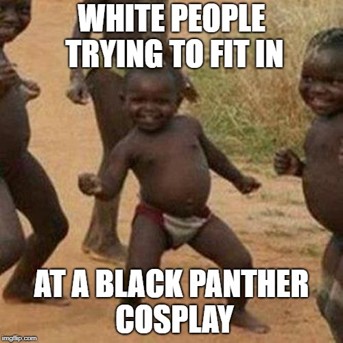 White people trying to cosplay | WHITE PEOPLE TRYING TO FIT IN AT A BLACK PANTHER COSPLAY | image tagged in memes,funny memes,third world success kid,black panther | made w/ Imgflip meme maker