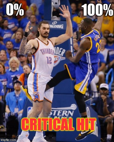 0% 100% CRITICAL HIT | image tagged in nbanutshot | made w/ Imgflip meme maker