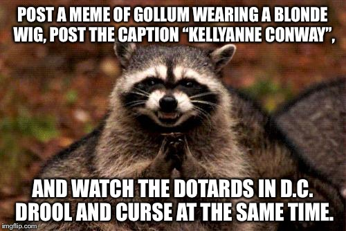 "Kellyanne Conway looks like Gollum in drag | POST A MEME OF GOLLUM WEARING A BLONDE WIG, POST THE CAPTION ""KELLYANNE CONWAY"", AND WATCH THE DOTARDS IN D.C. DROOL AND CURSE AT THE SAME T 