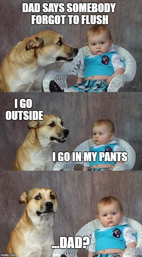 Dad Joke Dog Meme | DAD SAYS SOMEBODY FORGOT TO FLUSH I GO IN MY PANTS I GO OUTSIDE ...DAD? | image tagged in memes,dad joke dog | made w/ Imgflip meme maker