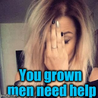 You grown men need help | image tagged in face palm | made w/ Imgflip meme maker