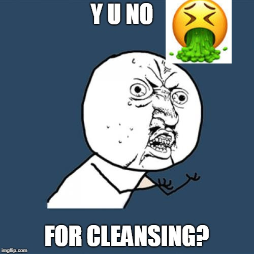 Y U NO FOR CLEANSING? | made w/ Imgflip meme maker