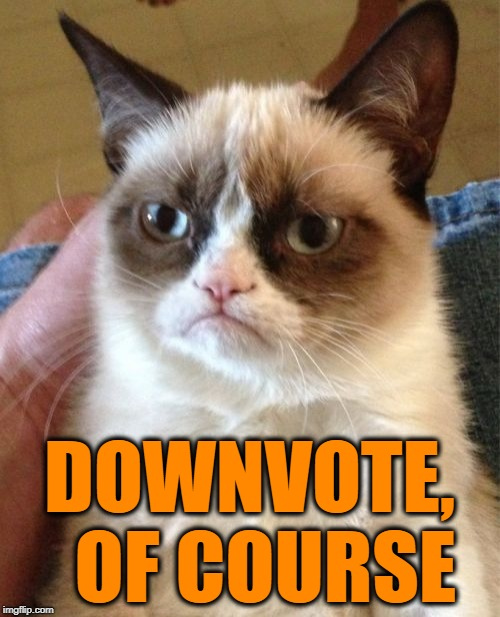 Grumpy Cat Meme | DOWNVOTE,  OF COURSE | image tagged in memes,grumpy cat | made w/ Imgflip meme maker