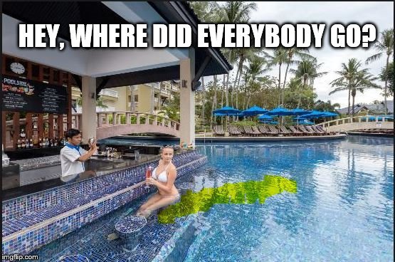 Clearing out the bar | HEY, WHERE DID EVERYBODY GO? | image tagged in pool,bar,memes | made w/ Imgflip meme maker