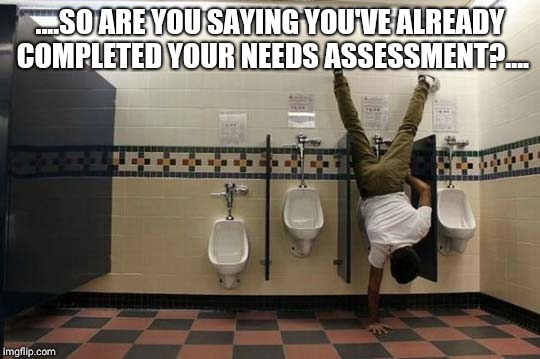 Peeing Handstand | ....SO ARE YOU SAYING YOU'VE ALREADY COMPLETED YOUR NEEDS ASSESSMENT?.... | image tagged in peeing handstand | made w/ Imgflip meme maker