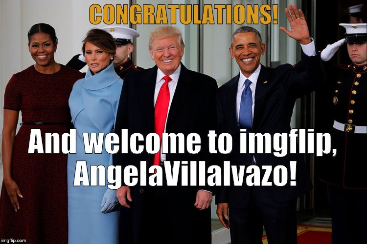 POTUS and POTUS-Elect | CONGRATULATIONS! And welcome to imgflip, AngelaVillalvazo! | image tagged in potus and potus-elect | made w/ Imgflip meme maker