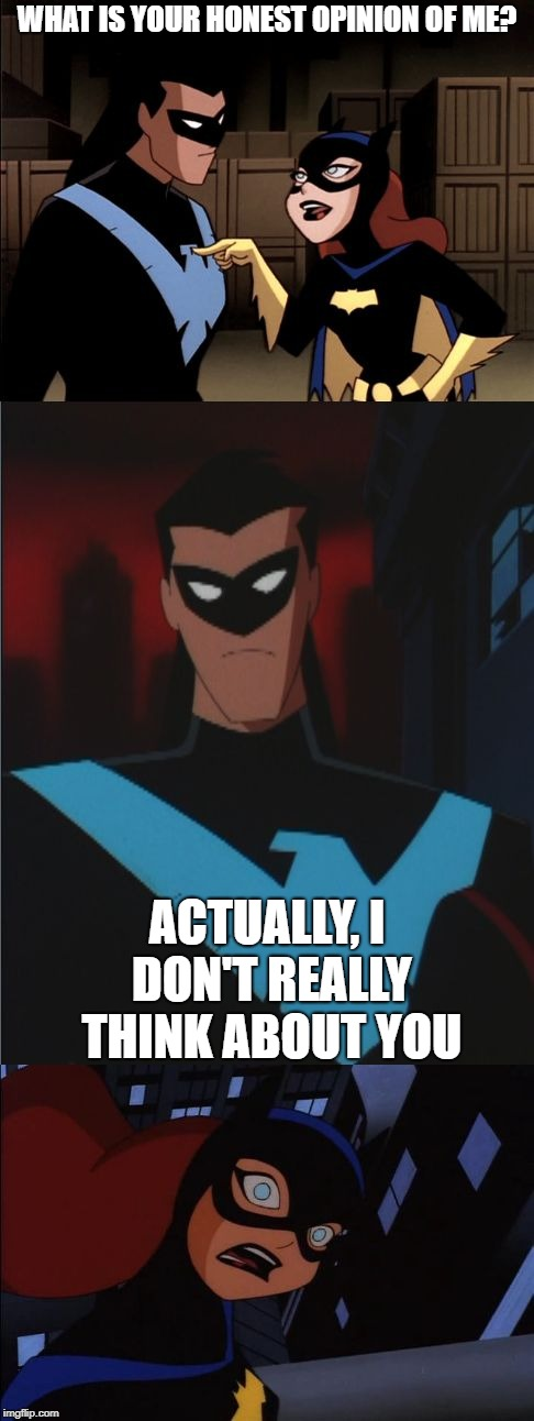 Nightwing and Batgirl | WHAT IS YOUR HONEST OPINION OF ME? ACTUALLY, I DON'T REALLY THINK ABOUT YOU | image tagged in nightwing and batgirl | made w/ Imgflip meme maker