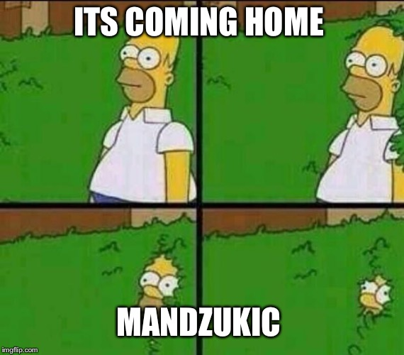 Homer Simpson in Bush - Large | ITS COMING HOME MANDZUKIC | image tagged in homer simpson in bush - large | made w/ Imgflip meme maker