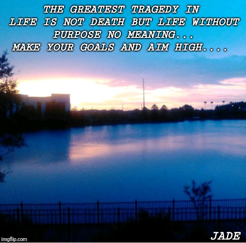THE GREATEST TRAGEDY IN LIFE IS NOT DEATH BUT LIFE WITHOUT PURPOSE NO MEANING... MAKE YOUR GOALS AND AIM HIGH.... JADE | image tagged in determination | made w/ Imgflip meme maker