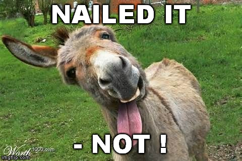 Laughing Donkey | NAILED IT - NOT ! | image tagged in laughing donkey | made w/ Imgflip meme maker
