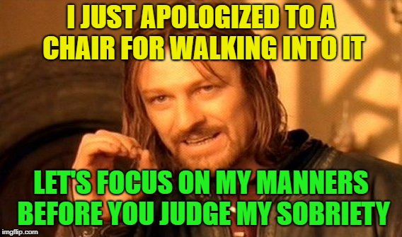 Refill please | I JUST APOLOGIZED TO A CHAIR FOR WALKING INTO IT LET'S FOCUS ON MY MANNERS BEFORE YOU JUDGE MY SOBRIETY | image tagged in memes,one does not simply,funny,drunk | made w/ Imgflip meme maker