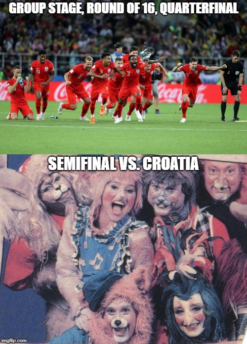 England at the 2018 World Cup | GROUP STAGE, ROUND OF 16, QUARTERFINAL SEMIFINAL VS. CROATIA | image tagged in england,world cup,zoobilee zoo,funny,furry | made w/ Imgflip meme maker