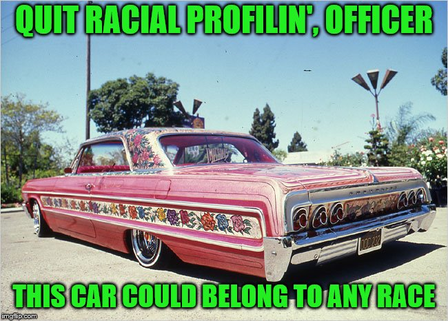 QUIT RACIAL PROFILIN', OFFICER THIS CAR COULD BELONG TO ANY RACE | made w/ Imgflip meme maker