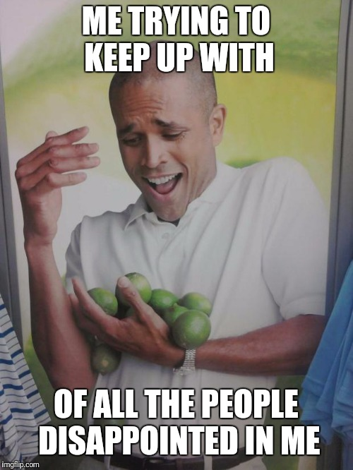 Why Can't I Hold All These Limes | ME TRYING TO KEEP UP WITH OF ALL THE PEOPLE DISAPPOINTED IN ME | image tagged in memes,why can't i hold all these limes | made w/ Imgflip meme maker