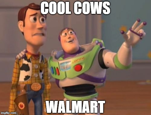 X, X Everywhere Meme | COOL COWS WALMART | image tagged in memes,x x everywhere | made w/ Imgflip meme maker