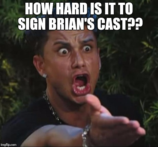 for crying out loud | HOW HARD IS IT TO SIGN BRIAN'S CAST?? | image tagged in for crying out loud | made w/ Imgflip meme maker