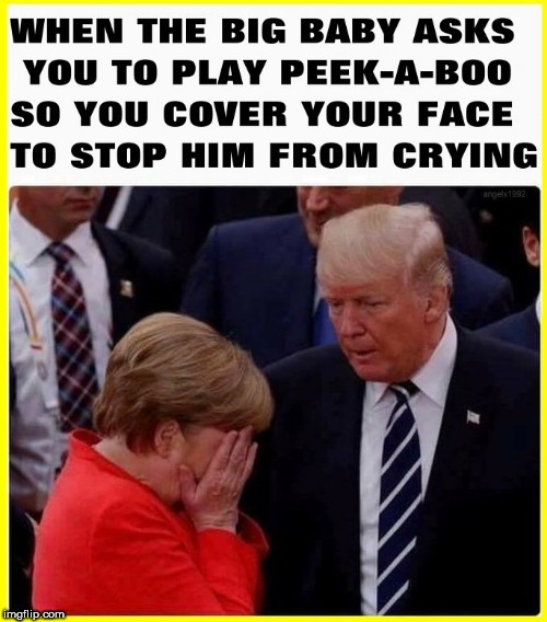 image tagged in angela merkel,trump baby,peek-a-boo,peekaboo,merkel,trump | made w/ Imgflip meme maker
