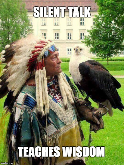 Elder  and Eagle | SILENT TALK TEACHES WISDOM | image tagged in eagle,chief,silent talk,native american,speak,wisdom | made w/ Imgflip meme maker