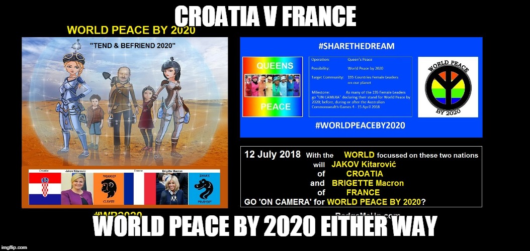CROATIA V FRANCE WORLD PEACE BY 2020 EITHER WAY | image tagged in world peace by 2020 | made w/ Imgflip meme maker