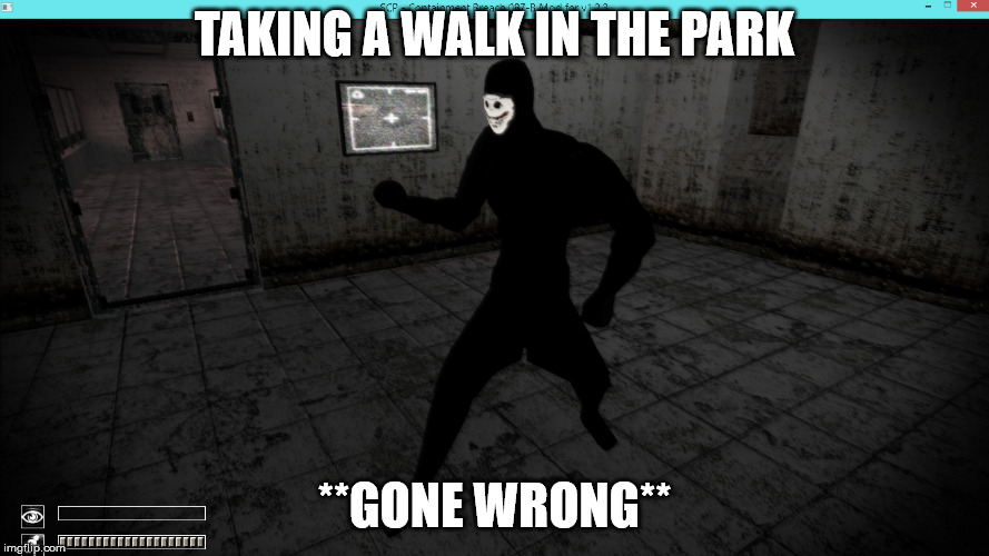idk | TAKING A WALK IN THE PARK **GONE WRONG** | image tagged in scp meme | made w/ Imgflip meme maker
