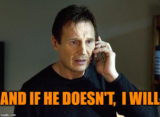 Liam Neeson Taken 2 Meme | AND IF HE DOESN'T,  I WILL | image tagged in memes,liam neeson taken 2 | made w/ Imgflip meme maker