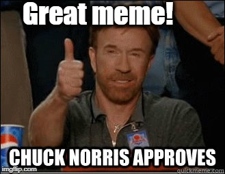 chuck norris approves | Great meme! | image tagged in chuck norris approves | made w/ Imgflip meme maker
