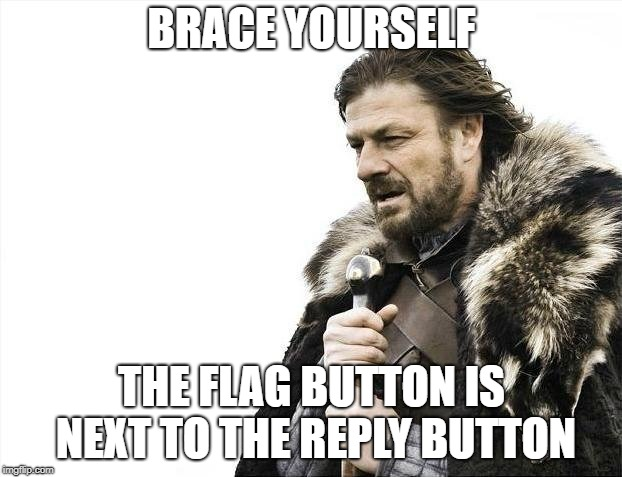 Brace Yourselves X is Coming Meme | BRACE YOURSELF THE FLAG BUTTON IS NEXT TO THE REPLY BUTTON | image tagged in memes,brace yourselves x is coming | made w/ Imgflip meme maker