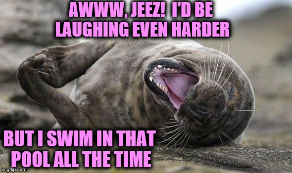 Laughing Hysterically | AWWW, JEEZ!  I'D BE LAUGHING EVEN HARDER BUT I SWIM IN THAT POOL ALL THE TIME | image tagged in laughing hysterically | made w/ Imgflip meme maker