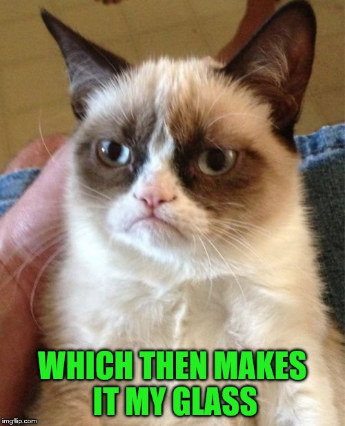 Grumpy Cat Meme | WHICH THEN MAKES IT MY GLASS | image tagged in memes,grumpy cat | made w/ Imgflip meme maker