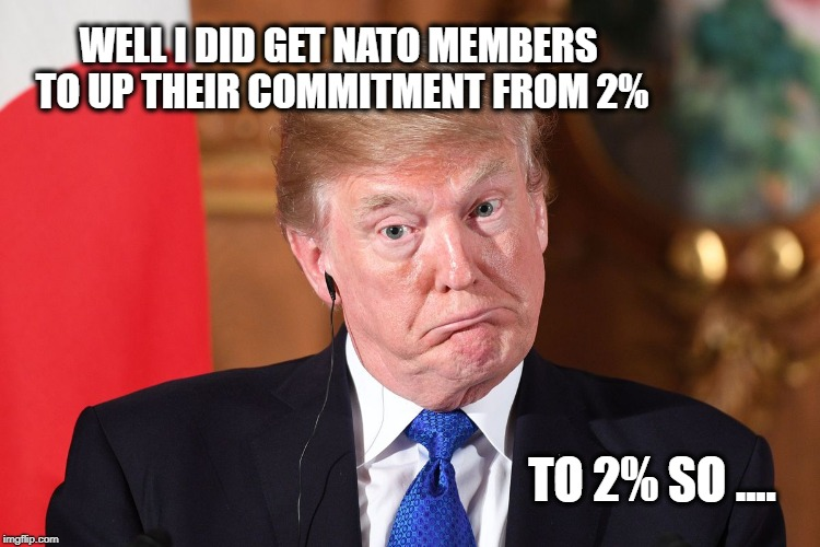 Trump dumbfounded | WELL I DID GET NATO MEMBERS TO UP THEIR COMMITMENT FROM 2% TO 2% SO .... | image tagged in trump dumbfounded | made w/ Imgflip meme maker