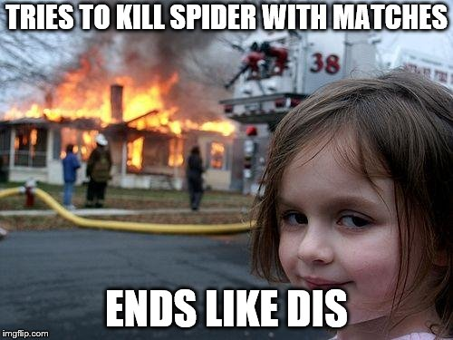 Disaster Girl | TRIES TO KILL SPIDER WITH MATCHES ENDS LIKE DIS | image tagged in memes,disaster girl,spider fail,fire | made w/ Imgflip meme maker