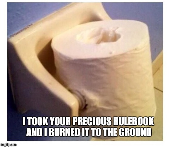 Take that, rule-followers | I TOOK YOUR PRECIOUS RULEBOOK AND I BURNED IT TO THE GROUND | image tagged in memes,toilet paper,ilikepie314159265358979 | made w/ Imgflip meme maker