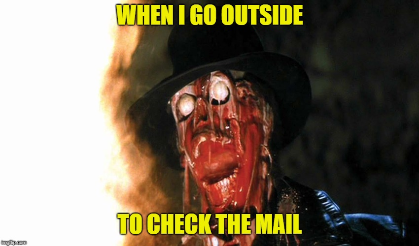 Pretty Warm Outside | WHEN I GO OUTSIDE TO CHECK THE MAIL | image tagged in funny memes,hot,summer,sunshine,melting,indiana jones | made w/ Imgflip meme maker