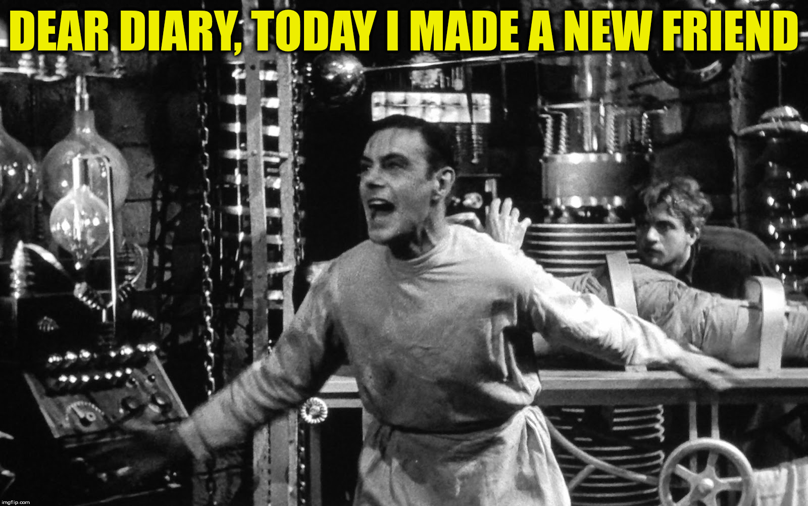 Sometimes it gets boring in the lab... | DEAR DIARY, TODAY I MADE A NEW FRIEND | image tagged in dr frankenstein,diary entry,friendship is magic | made w/ Imgflip meme maker