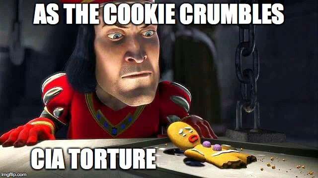 CIA tourture as the cookie crumbles | AS THE COOKIE CRUMBLES CIA TORTURE | image tagged in cia tourture as the cookie crumbles | made w/ Imgflip meme maker