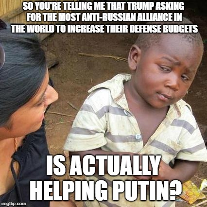 Third World Skeptical Kid Meme | SO YOU'RE TELLING ME THAT TRUMP ASKING FOR THE MOST ANTI-RUSSIAN ALLIANCE IN THE WORLD TO INCREASE THEIR DEFENSE BUDGETS IS ACTUALLY HELPING | image tagged in memes,third world skeptical kid | made w/ Imgflip meme maker