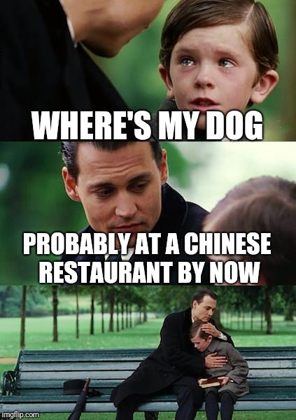 Finding Neverland Meme | WHERE'S MY DOG PROBABLY AT A CHINESE RESTAURANT BY NOW | image tagged in memes,finding neverland | made w/ Imgflip meme maker