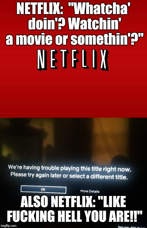 "Netflix gives zero fux | NETFLIX:  ""Whatcha' doin'?Watchin' a movie or somethin'?"" ALSO NETFLIX: ""LIKE F**KING HELL YOU ARE!!"" 