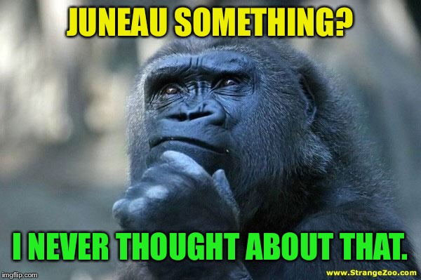 Deep Thoughts | JUNEAU SOMETHING? I NEVER THOUGHT ABOUT THAT. | image tagged in deep thoughts | made w/ Imgflip meme maker