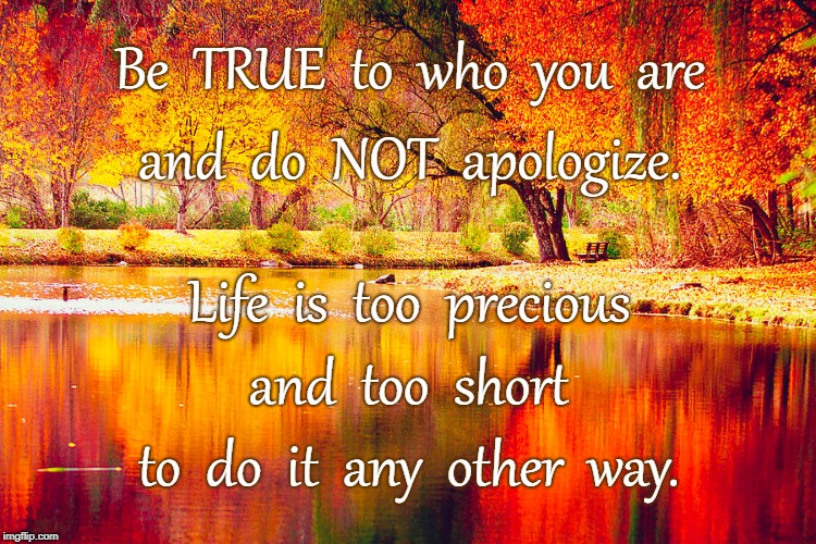 NO Apologies | Be  TRUE  to  who  you  are to  do  it  any  other  way. and  do  NOT  apologize. Life  is  too  precious and  too  short | image tagged in be true,don't apologize,life too precious,life too short,no other way | made w/ Imgflip meme maker
