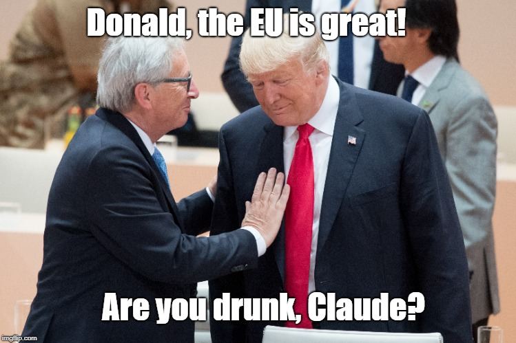 EU-Juncker with Trump | Donald, the EU is great! Are you drunk, Claude? | image tagged in donald trump | made w/ Imgflip meme maker