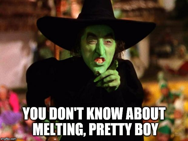 wicked witch  | YOU DON'T KNOW ABOUT MELTING, PRETTY BOY | image tagged in wicked witch | made w/ Imgflip meme maker