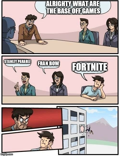 fortnite, it follows  | ALRIGHTY WHAT ARE THE BASE OFF GAMES STANLEY PARABLE FRAN BOW FORTNITE | image tagged in memes,boardroom meeting suggestion | made w/ Imgflip meme maker