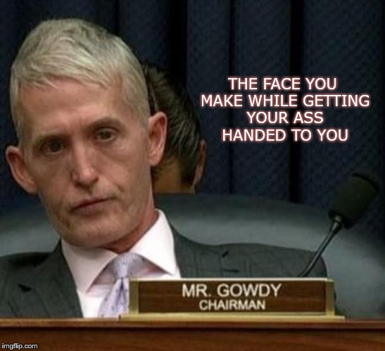 The Face | THE FACE YOU MAKE WHILE GETTING YOUR ASS HANDED TO YOU | image tagged in trey gowdy,gop,trump,fascist,nazis | made w/ Imgflip meme maker
