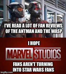 People complain about everything | I'VE READ A LOT OF FAN REVIEWS OF THE ANTMAN AND THE WASP I HOPE FANS AREN'T TURNING INTO STAR WARS FANS | image tagged in star wars fan,marvel cinematic universe,mcu,antman,wasp,antman and the wasp | made w/ Imgflip meme maker
