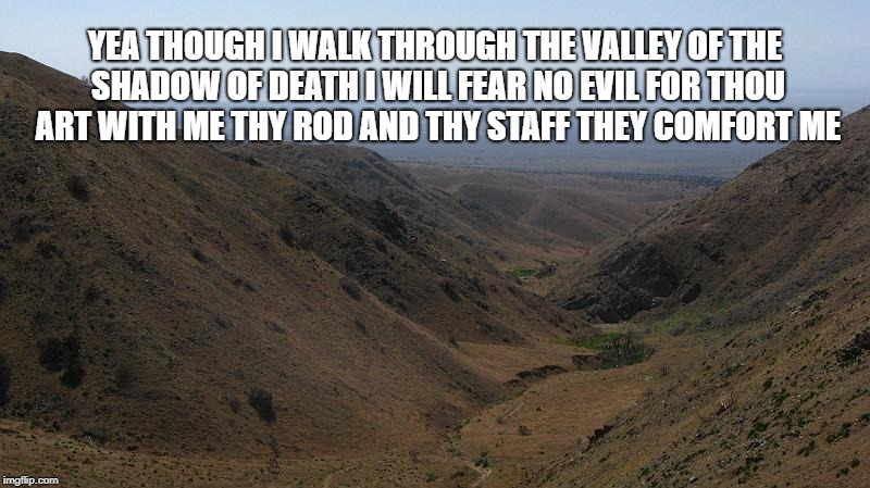 Psalm 23:4 | YEA THOUGH I WALK THROUGH THE VALLEY OF THE SHADOW OF DEATH I WILL FEAR NO EVIL FOR THOU ART WITH ME THY ROD AND THY STAFF THEY COMFORT ME | image tagged in bible,verse,bible verse,psalm,valley of death,god | made w/ Imgflip meme maker
