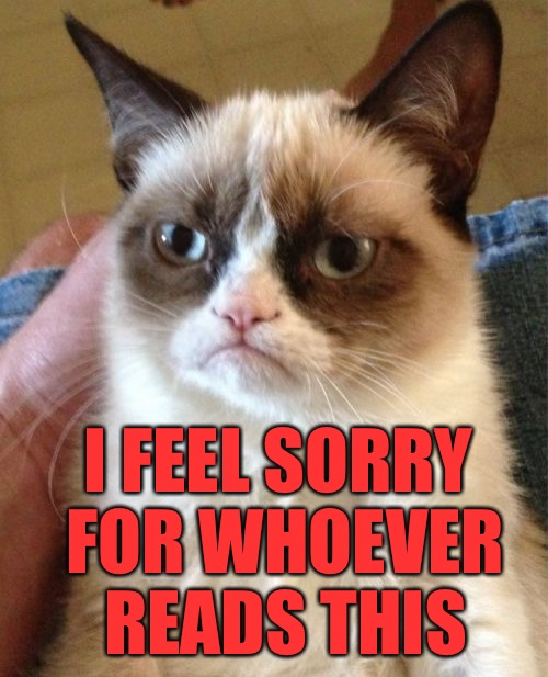 Grumpy Cat Meme | I FEEL SORRY FOR WHOEVER READS THIS | image tagged in memes,grumpy cat | made w/ Imgflip meme maker