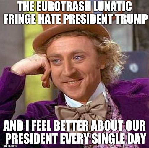 Our guy is better than yours , so there | THE EUROTRASH LUNATIC FRINGE HATE PRESIDENT TRUMP AND I FEEL BETTER ABOUT OUR PRESIDENT EVERY SINGLE DAY | image tagged in memes,creepy condescending wonka,lunatic,funny,trump 2016,haters | made w/ Imgflip meme maker
