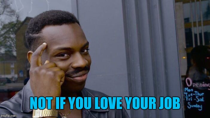 Roll Safe Think About It Meme | NOT IF YOU LOVE YOUR JOB | image tagged in memes,roll safe think about it | made w/ Imgflip meme maker