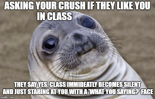 Awkward Moment Sealion Meme | ASKING YOUR CRUSH IF THEY LIKE YOU IN CLASS THEY SAY YES. CLASS IMMIDEATLY BECOMES SILENT AND JUST STARING AT YOU WITH A 'WHAT YOU SAYING?'  | image tagged in memes,awkward moment sealion | made w/ Imgflip meme maker